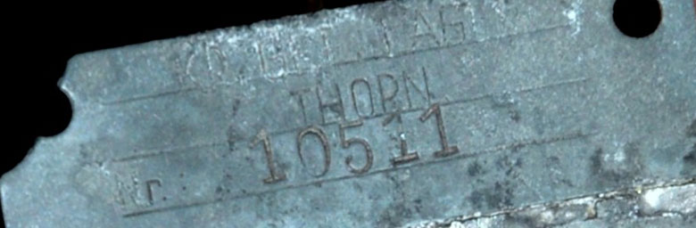 Charles Waite's Dog-Tag issued at 20A Thorn